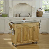 Mix and Match Natural Create-a-Cart with Gray Concrete Top, 48-3/4'' W x 17-3/4'' D x 35'' H