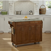 Mix and Match Oak Create-a-Cart with Gray Concrete Top, 48-3/4'' W x 17-3/4'' D x 35'' H
