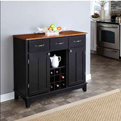 Mix & Match Large Buffet Server Black Finish with Cottage Oak Top, 41-3/4'' W x 17'' D x 36-1/4''H