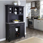Mix and Match large Black buffet server with two-door hutch and stainless steel top