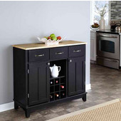 Mix & Match Large Buffet Server Black Base with Natural Top, 41-3/4'' W x 17'' D x 36-1/4''H