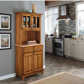 Mix and Match Dark Cottage Oak Stained buffet server with 2 door hutch and natural top