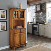 Mix and Match Dark Cottage Oak Stained buffet server with 2 door hutch and Stainless top