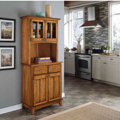 Mix and Match Dark Cottage Oak Stain buffet server with 2 door hutch and Cottage Oak top