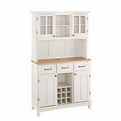 Mix and Match large White buffet server with two-door hutch and Natural wood top