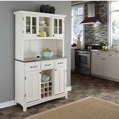 Mix and Match large White buffet server with two-door hutch and stainless steel top