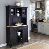 Mix and Match large Black buffet server with two-door hutch and Natural wood top