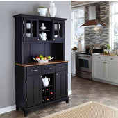 Mix and Match large Black buffet server with two-door hutch and cottage oak top