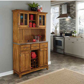 Mix and Match large Dark Cottage Oak Stain buffet server with two-door hutch and Stainless Steel top