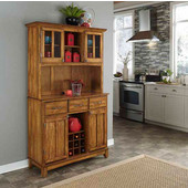 Mix and Match large Dark Cottage Oak Stain buffet server with two-door hutch and Cottage Oak top