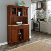 Mix and Match large Cherry buffet server with two-door hutch and Natural wood top