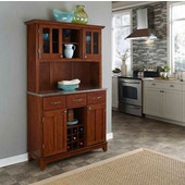 Mix and Match large Cherry buffet server with two-door hutch and stainless steel top