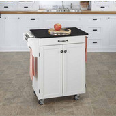 Mix & Match Cuisine Cart, White Base, Black Granite Top, 32-1/2'' W x 18-3/4'' D x 36'' H