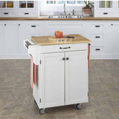 Mix & Match Cuisine Cart, White Base, Wood Top, 32-1/2'' W x 18-3/4'' D x 36'' H