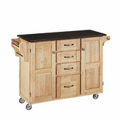 Mix & Match Kitchen Cart Cabinet, Natural Base, Black Granite Top, 52-1/2'' W x 18'' D x 36''H