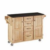 Mix & Match Kitchen Cart Cabinet, Natural Base, Black Granite Top, 52-1/2'' W x 18'' D x 36''H