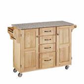 Mix & Match Kitchen Cart Cabinet, Natural Base, Granite Top, 52-1/2'' W x 18'' D x 36''H