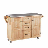 Mix & Match Kitchen Cart Cabinet, Natural Base, Stainless Steel Top, 52-1/2'' W x 18'' D x 36''H