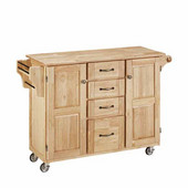 Mix & Match Kitchen Cart Cabinet, Natural Base, Wood Top, 52-1/2'' W x 18'' D x 36''H