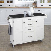 Mix & Match Kitchen Cart Cabinet, White Base, Black Granite Top, 52-1/2'' W x 18'' D x 36''H