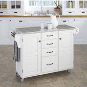 Mix & Match Kitchen Cart Cabinet, White Base, Granite Top, 52-1/2'' W x 18'' D x 36''H