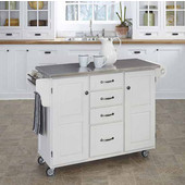 Mix & Match Kitchen Cart Cabinet, White Base, Stainless Steel Top, 52-1/2'' W x 18'' D x 36''H