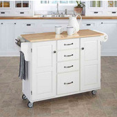 Mix & Match Kitchen Cart Cabinet, White Base, Wood Top, 52-1/2'' W x 18'' D x 36''H
