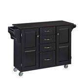 Mix & Match Kitchen Cart Cabinet, Black Base, Black Granite Top, 52-1/2'' W x 18'' D x 36''H