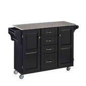 Mix & Match Kitchen Cart Cabinet, Black Base, Granite Top, 52-1/2'' W x 18'' D x 36''H