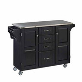 Mix & Match Kitchen Cart Cabinet, Black Base, Stainless Steel Top, 52-1/2'' W x 18'' D x 36''H