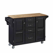 Mix & Match Kitchen Cart Cabinet, Black Base, Wood Top, 52-1/2'' W x 18'' D x 36''H