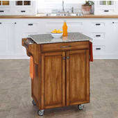 Mix & Match Cuisine Cart, Dark Cottage Oak Stained Base, Granite Top, 32-1/2'' W x 18-3/4'' D x 36'' H