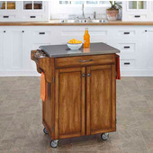 Mix & Match Cuisine Cart, Dark Cottage Oak Stained Base, Stainless Steel Top, 32-1/2'' W x 18-3/4'' D x 36'' H