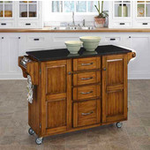 Mix & Match Kitchen Cart Cabinet, Dark Cottage Oak Stained Base, Black Granite Top, 52-1/2'' W x 18'' D x 36''H