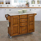 Mix & Match Kitchen Cart Cabinet, Dark Cottage Oak Stained Base, Granite Top, 52-1/2'' W x 18'' D x 36''H