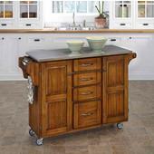 Mix & Match Kitchen Cart Cabinet, Dark Cottage Oak Stained Base, Stainless Steel Top, 52-1/2'' W x 18'' D x 36''H