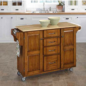 Mix & Match Kitchen Cart Cabinet, Dark Cottage Oak Stained Base, Wood Top, 52-1/2'' W x 18'' D x 36''H