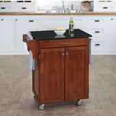 Mix & Match Cuisine Cart, Cherry Finish, Black Granite Top, 32-1/2'' W x 18-3/4'' D x 36'' H