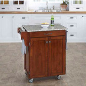 Mix & Match Cuisine Cart, Cherry Finish, Grey Granite Top, 32-1/2'' W x 18-3/4'' D x 36'' H