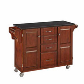 Mix & Match Kitchen Cart, Cherry Finish, Black Granite Top, 48'' W x 17 3/4'' D x 35 1/2'' H