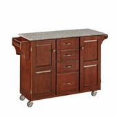 Mix & Match Kitchen Cart, Cherry Finish, Grey Granite Top, 53'' W x 17'' D x 35''H