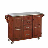 Mix & Match Kitchen Cart, Cherry Finish, Stainless Steel Top, 52-1/2'' W x 18'' D x 36''H