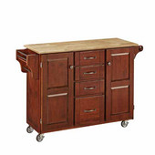 Mix & Match Kitchen Cart, Cherry Finish, Wood Top, 53'' W x 17'' D x 35''H