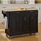 Mix and Match Create-a-Cart Black Finish Wood Top, 48-3/4'' W x 17-3/4'' D x 34''H