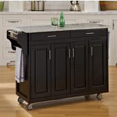 Mix and Match Create-a-Cart Black Finish Salt & Pepper Granite Top, 48-3/4'' W x 17-3/4'' D x 34''H