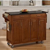 Mix and Match Create-a-Cart Dark Cottage Oak Finish Black Granite Top, 48-3/4'' W x 17-3/4'' D x 34''H