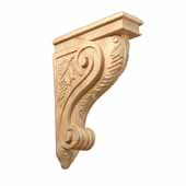 Vineyard Corbel Carving with Flat Back in Multiple Wood Species, 3''W x 9''D x 13''H