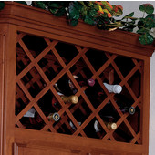 Cabinet Mount Wine Bottle Lattice - Squared Edges, 11, 14 or 28 Bottle Capacity, available in multiple wood species