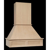 30''W Signature Craftsman Wood Range Hood w/ Straight Flat Panel Front, Cherry