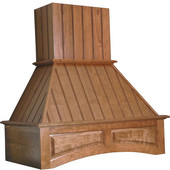 Nantucket Wooden Wall Chimney Range Hood, 250-1500 CFM, 30'' - 48'' Arched Valence, Unfinished Alder, Cherry, Hickory, Maple or Red Oak